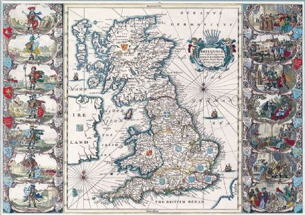 Speed, John: Map of the British Isles (Britannia). Antique/Vintage 17th Century Map.  (003883)